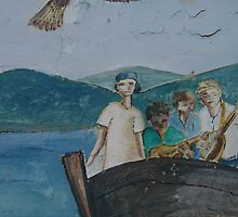 mural boat and passengers by Laurkat