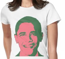Graphic Obama Face in Pink and Green Womens Fitted T-Shirt