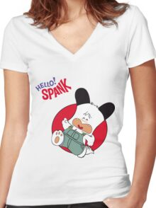 Hello Spank! Women's Fitted V-Neck T-Shirt
