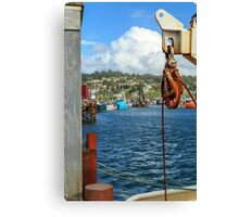 Pulley Cables And Boats Canvas Print