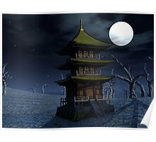 Moon-Lit Temple Poster
