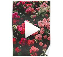 YouTube Logo - Red Floral Background Poster