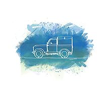 Land Rover Series II - Single Line Photographic Print