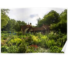 English Cottage Gardens - Summer Green in Watercolor Poster