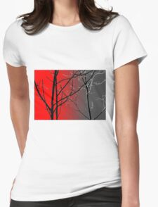 Red And Gray Womens Fitted T-Shirt