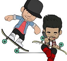 Liam and Zayn Skateboarding by ashleyrguillory