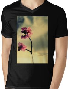 Pink Blossoms And Vase Mens V-Neck T-Shirt