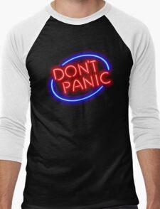 "Hitchhiker's Guide - ""Don't Panic"" Neon Sign Men's Baseball ¾ T-Shirt"