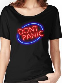 "Hitchhiker's Guide - ""Don't Panic"" Neon Sign Women's Relaxed Fit T-Shirt"
