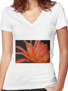 Flower Flames  Women's Fitted V-Neck T-Shirt