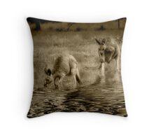 three kangaroos in sepia Throw Pillow