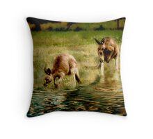 three kangaroos Throw Pillow