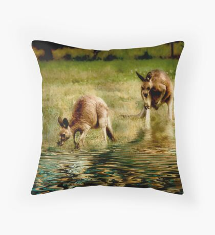 three kangaroos Throw Pillow