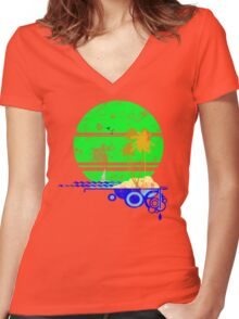 Vintage Beach Women's Fitted V-Neck T-Shirt