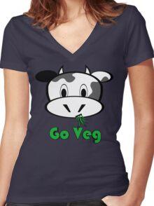 """Cow """"Go Veg"""" Women's Fitted V-Neck T-Shirt"""