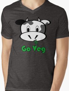 "Cow ""Go Veg"" Mens V-Neck T-Shirt"