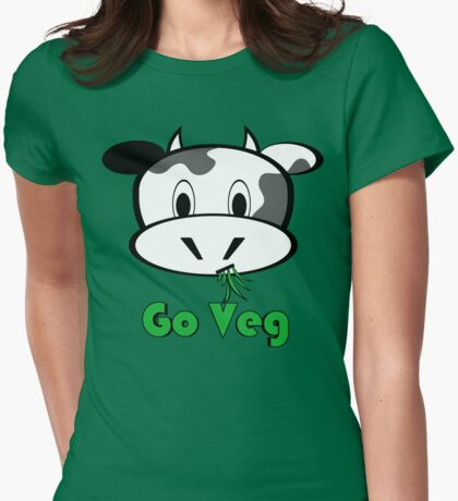 """Cow """"Go Veg"""" Womens Fitted T-Shirt"""