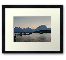 Jackson Lake Marina at dusk Framed Print