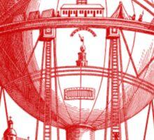 Red Round Blimp Zeppelin Sticker