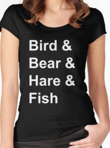 Bird, Bear, Hare and Fish Women's Fitted Scoop T-Shirt