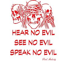 HEAR NO EVIL SEE NO EVIL SPEAK NO EVIL Photographic Print