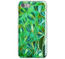 EFFLORESCENCE Lime Green Turquoise Blue Brown Floral Garden Watercolor Painting Pattern Flowers Nature Fine Art Design iPhone Case/Skin