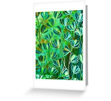 EFFLORESCENCE Lime Green Turquoise Blue Brown Floral Garden Watercolor Painting Pattern Flowers Nature Fine Art Design Greeting Card