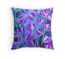 EFFLORESCENCE Lilac Lavender Purple Turquoise Blue Floral Garden Watercolor Painting Pattern Flowers Nature Fine Art Design  Throw Pillow
