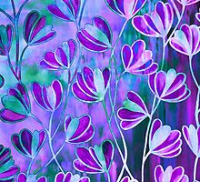 EFFLORESCENCE Lilac Lavender Purple Turquoise Blue Floral Garden Watercolor Painting Pattern Flowers Nature Fine Art Design  by EbiEmporium