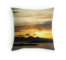 Sunset over Rhum. Throw Pillow