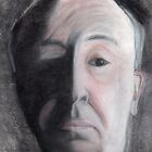 Charcoal drawing of Alfred Hitchcock by Melissa Goza