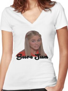 Sure Jan Women's Fitted V-Neck T-Shirt