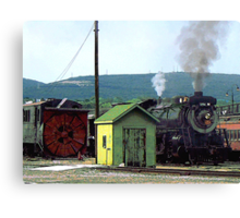 Steam Engine Coming into Train Yard Canvas Print