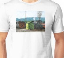 Steam Engine Coming into Train Yard Unisex T-Shirt