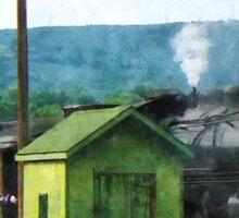 Steam Engine Coming into Train Yard Sticker