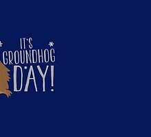 It's GROUNDHOG DAY! with cute little groundhog and snowflakes by jazzydevil