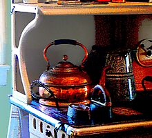 Copper Tea Kettle on Stove by Susan Savad