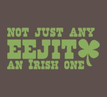 NOT JUST any EEJIT (idiot) an IRISH one! with green shamrock Kids Clothes