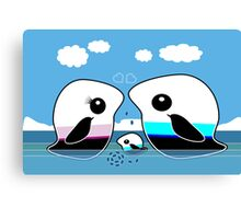 Paradise Penguin Family Canvas Print