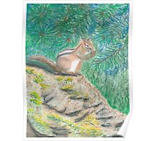 Chipmonk Eating - Oil Pastels Poster