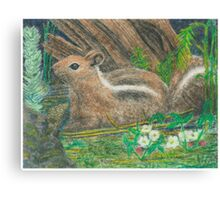 Chipmonk - Oil Pastels Canvas Print