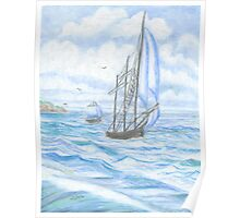 Sailboat - Oil Pastels Poster