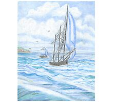 Sailboat - Oil Pastels Photographic Print