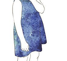 Little girl in a watercolor dress by OlgaBerlet
