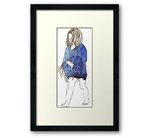 Little girl in a watercolor dress Framed Print