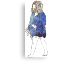 Little girl in a watercolor dress Canvas Print