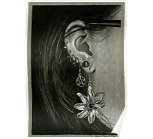 Punk Piercings, Black and White girl with earings Poster