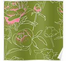 Seamless floral background with peonies Poster
