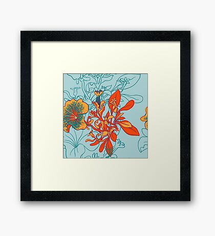 Seamless floral background with peonies Framed Print