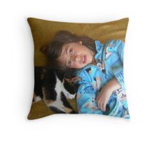 Girl with the Cat Throw Pillow